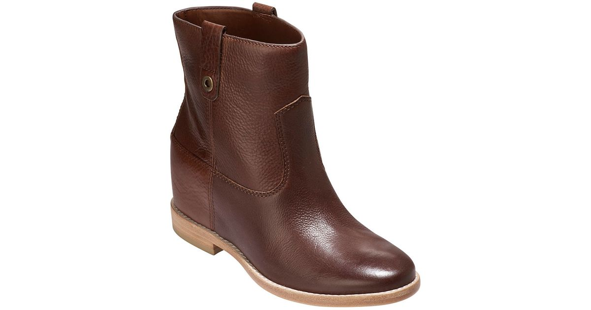 cole haan zillie leather ankle boots in brown lyst