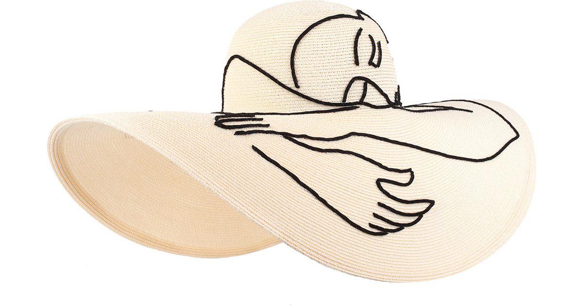 51ec6a0a2ecc9 Lyst - Eugenia Kim Sunny Hand-embroidered Sun Hat in White
