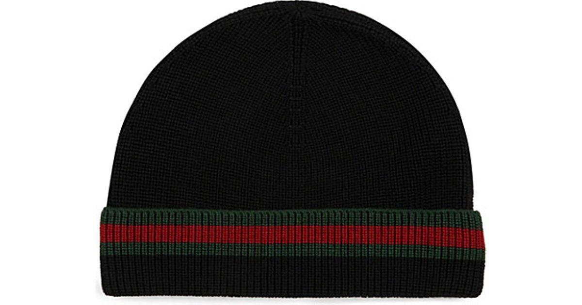 564e2c38440 Lyst - Gucci Wool Silk Beanie in Black for Men
