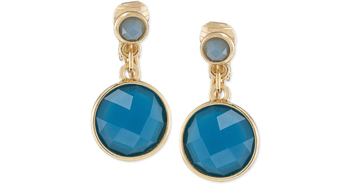 silver stone plated and gold earrings blue