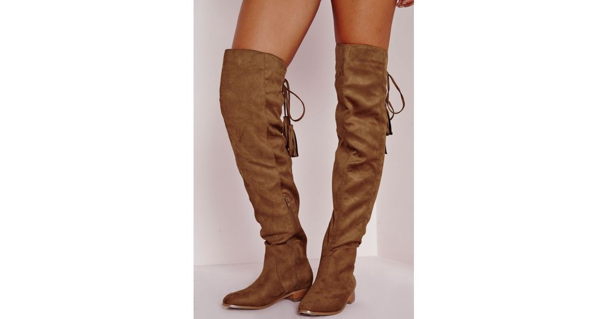 Lyst - Missguided Flat Knee High Tassel Back Boot Tan in Brown 11f19aa9e0e1