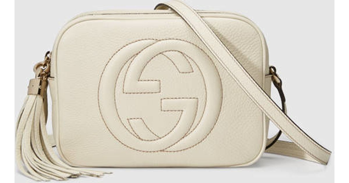 0e958d283a8a Gucci Soho Leather Disco Bag in White - Lyst