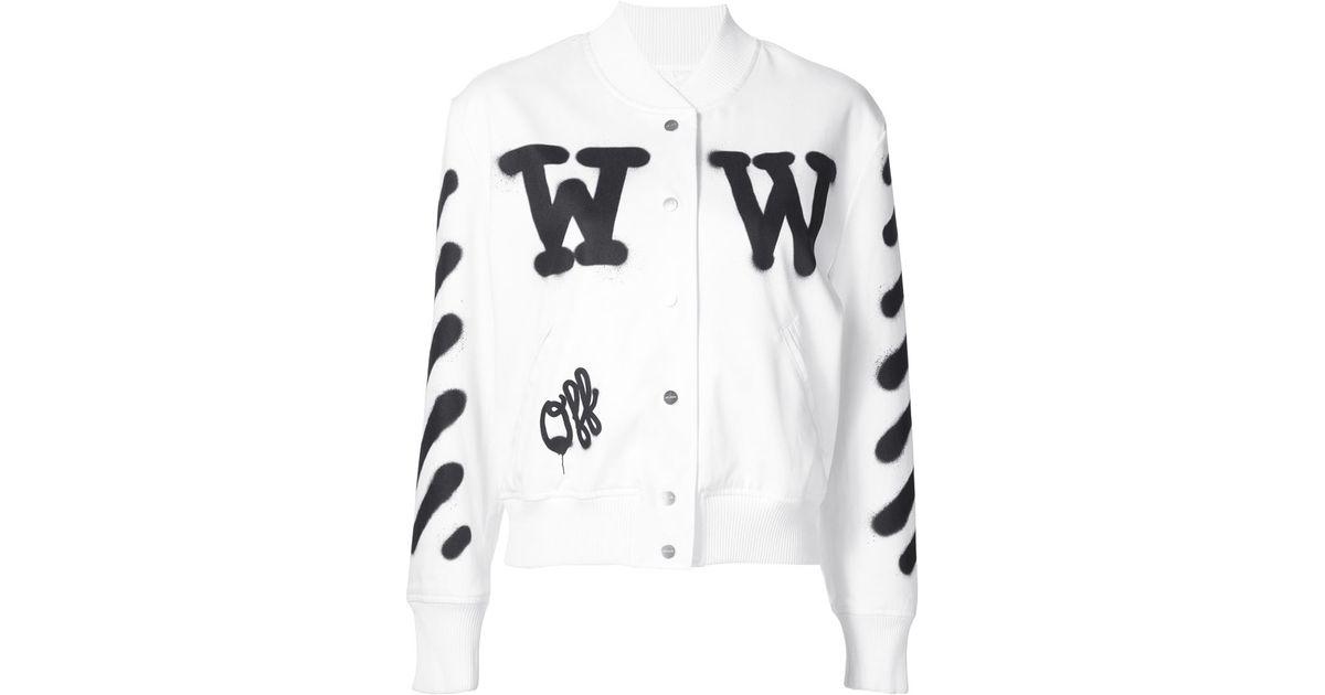 off white c o virgil abloh spray paint letterman jacket in white. Black Bedroom Furniture Sets. Home Design Ideas