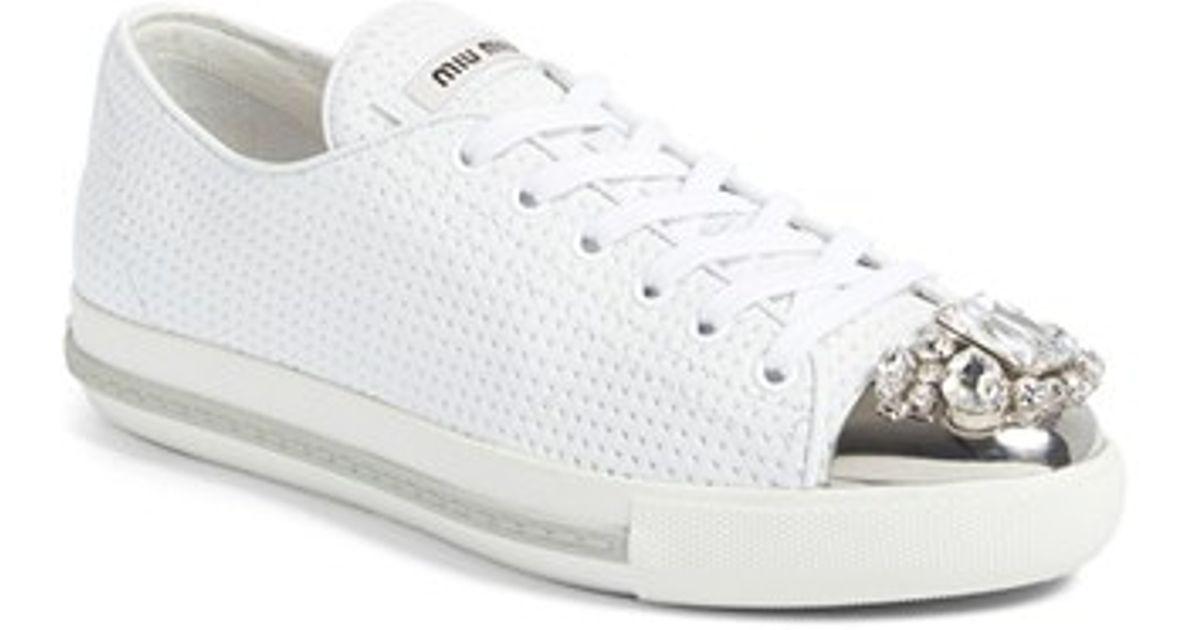 Swarovski crystal toe-cap sneakers - White Miu Miu Factory Price Brand New Unisex Cheap Online Free Shipping Genuine QFqtKZ