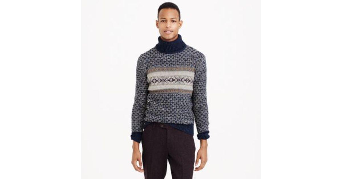 J.crew Donegal Wool Fair Isle Turtleneck Sweater in Blue for Men ...