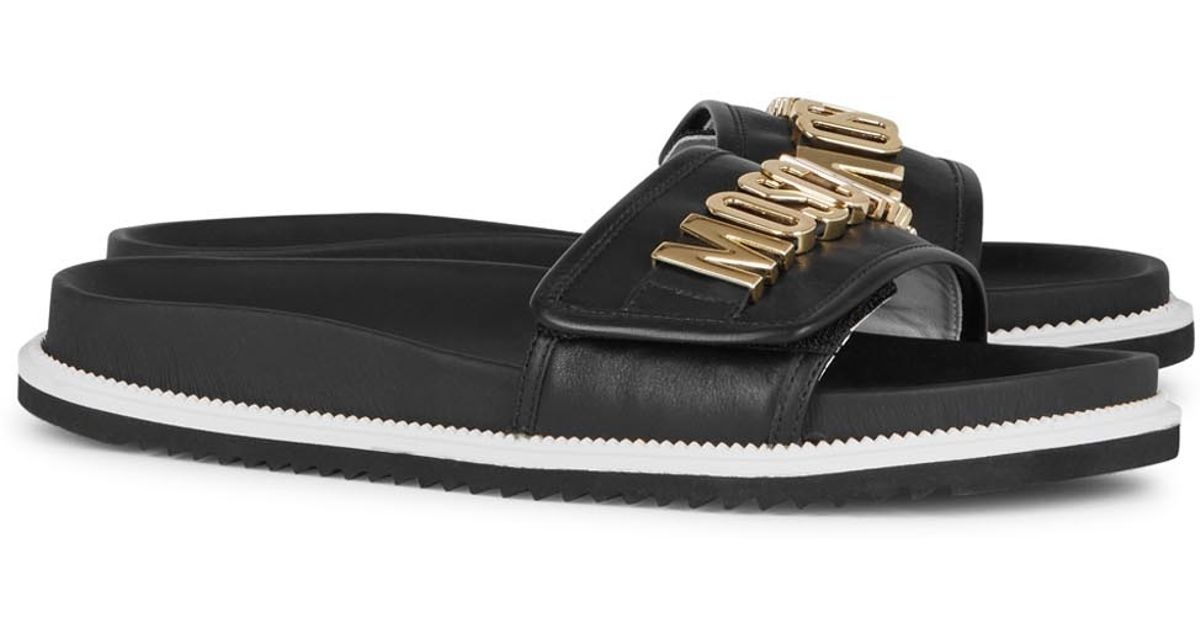 0a4641a7c Moschino Black Logo Leather Sliders in Black for Men - Lyst