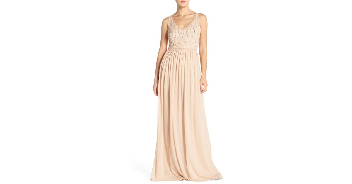 Lyst - Adrianna Papell Beaded Bodice V-neck Chiffon Gown in Metallic