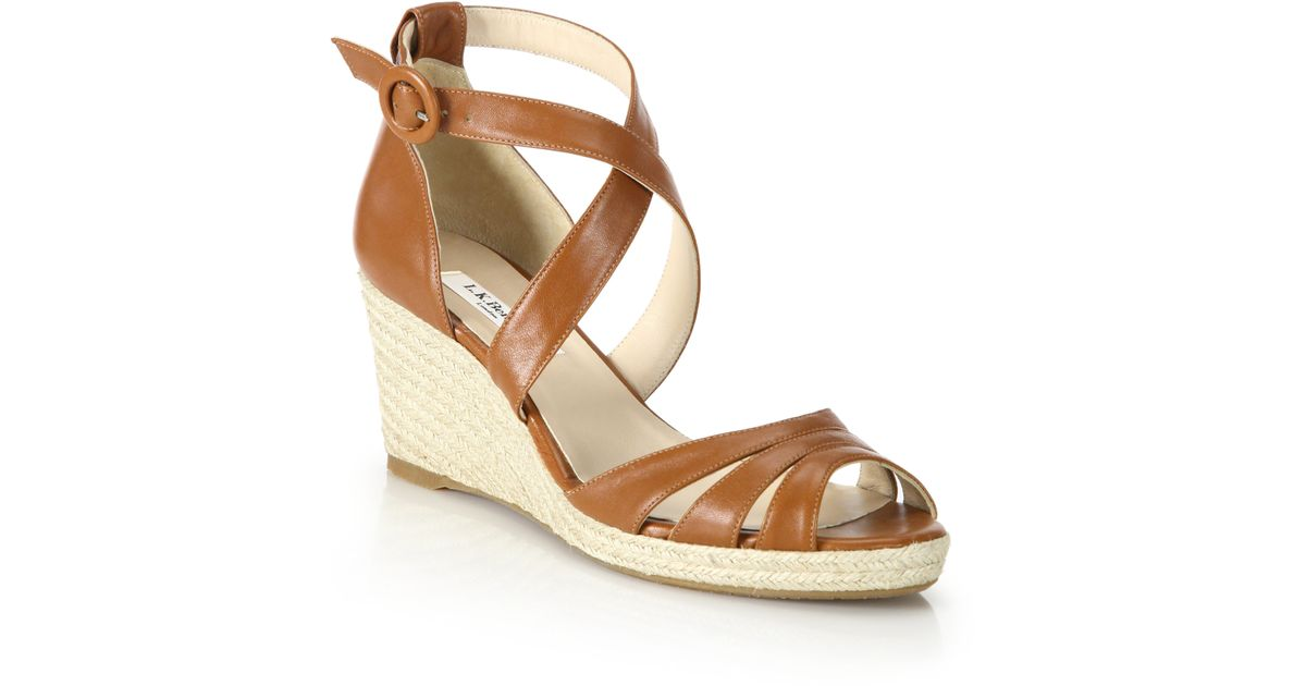 66ff00cf700 Lyst - L.K.Bennett Priya Leather Espadrille Wedge Sandals in Brown