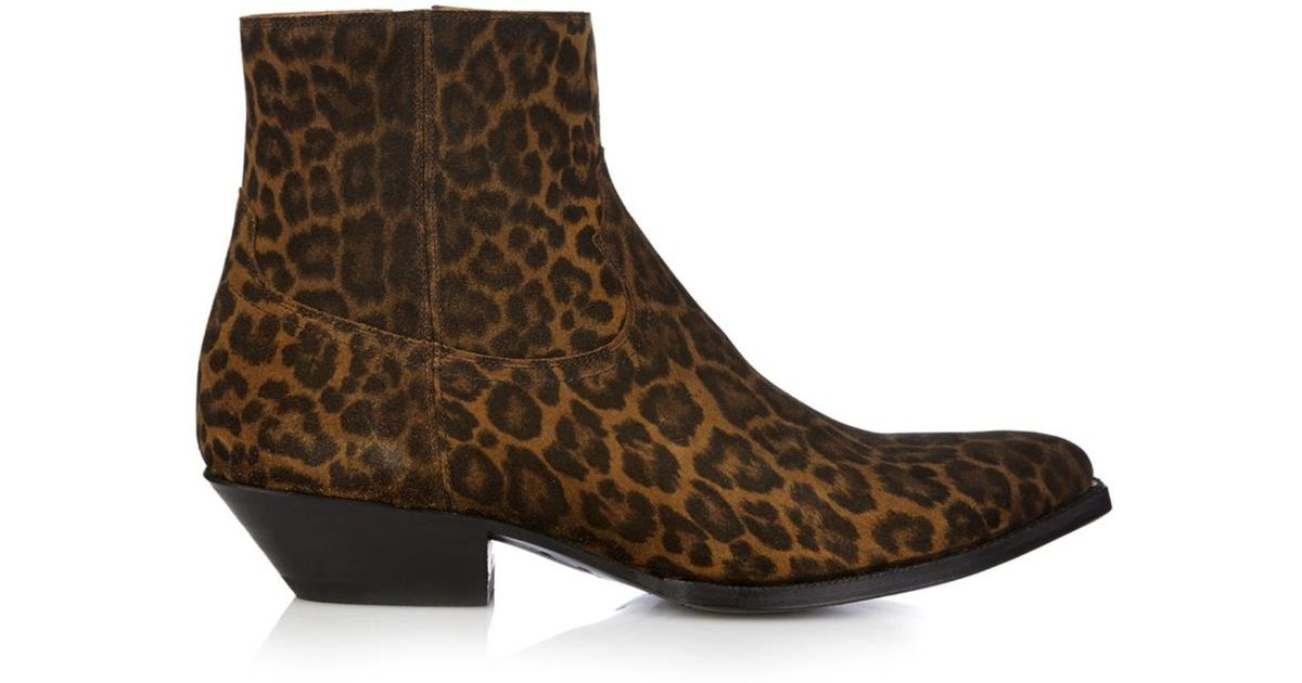 7893e36cc23f Saint Laurent Leopard-Print Suede Ankle Boots in Brown for Men - Lyst