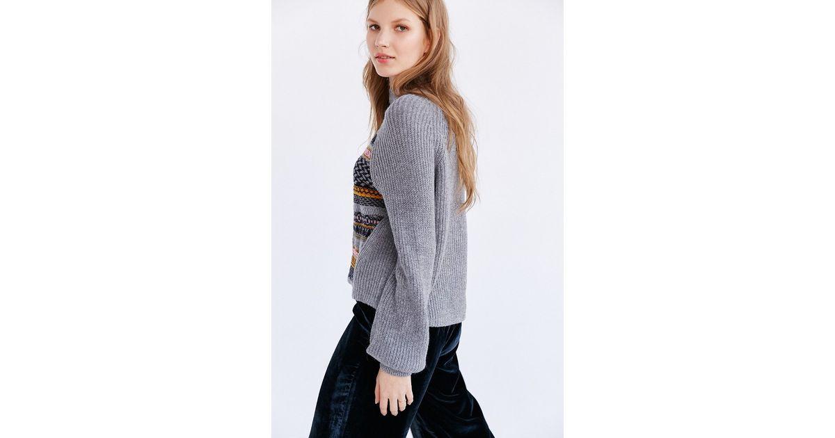 Ecote Movie Night Fair Isle Sweater in Gray | Lyst
