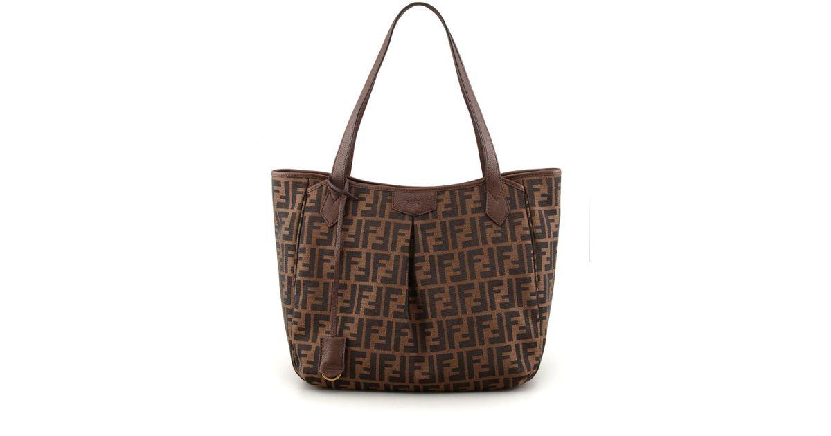 ... real lyst fendi zucca grande shopping tote bag in brown 54eef 361d5 61b6a6f1c7f08