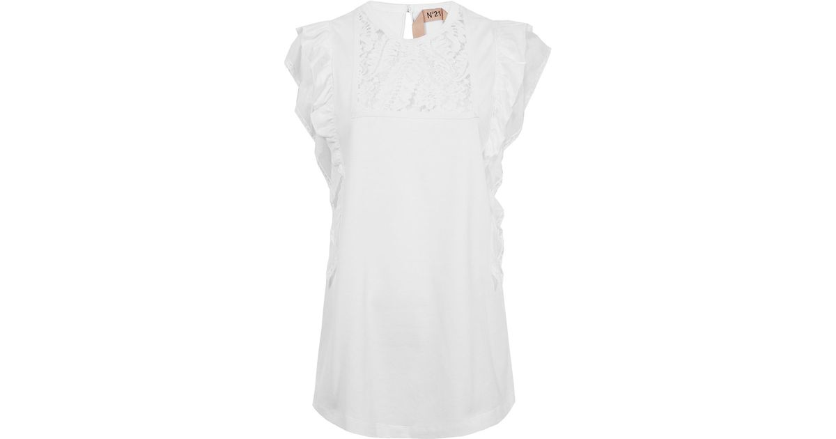 e634080c5 N°21 White Lace Frilled T-shirt in White - Lyst