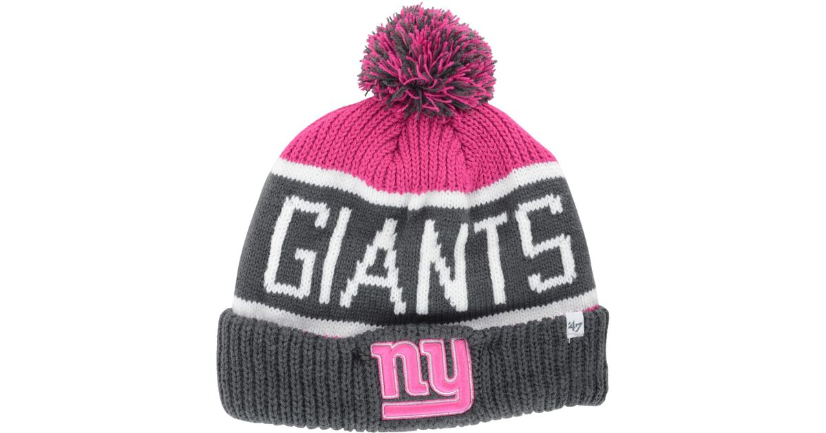 cheap for discount 3a232 50e52 ... pom cuffed hat 2316a 472fd  aliexpress lyst 47 brand womens new york  giants calgary knit hat in pink 53447 3da37
