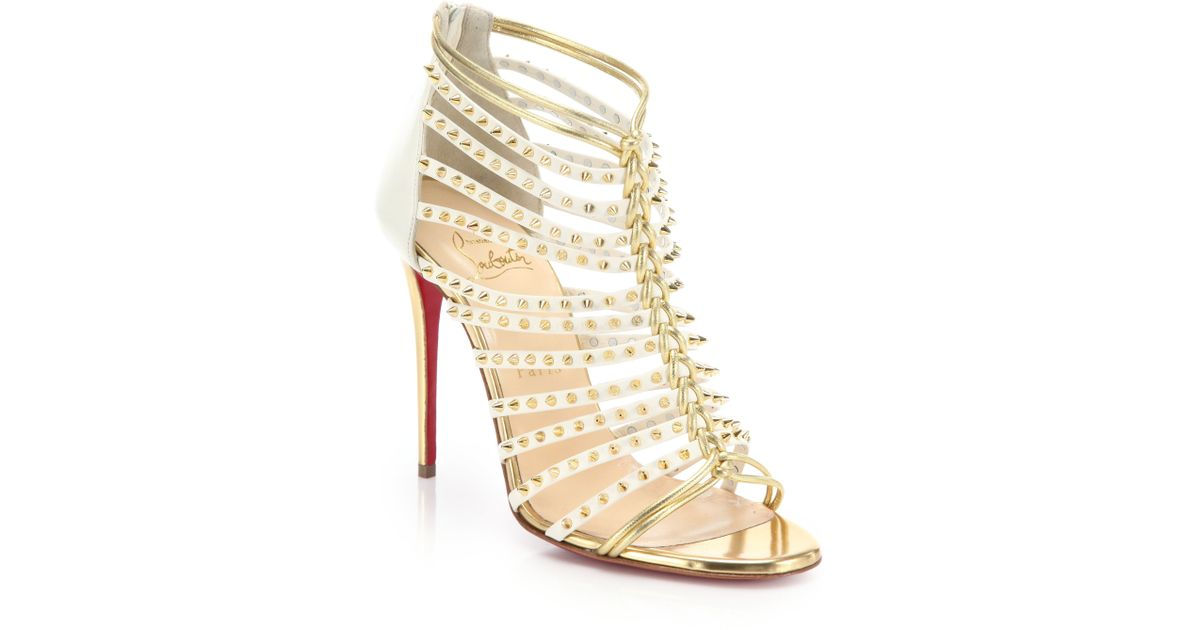 Lyst - Christian Louboutin Millaclou Studded Leather Sandals in Metallic 32df3a14c