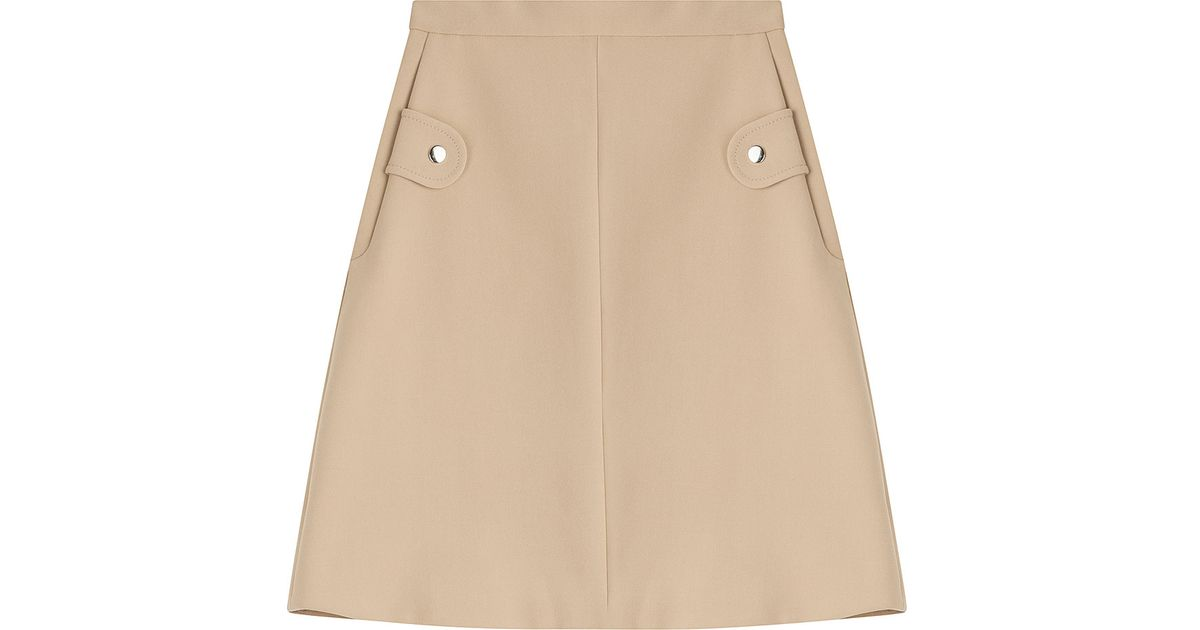 carven a line skirt beige in beige lyst