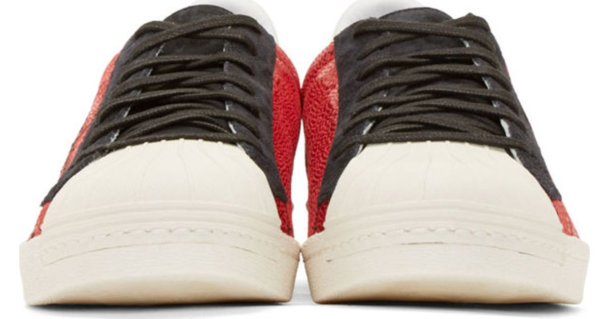 3f0424ea9 Lyst - Yohji Yamamoto Red Adidas By Superstar Metallic Sneakers in Red for  Men
