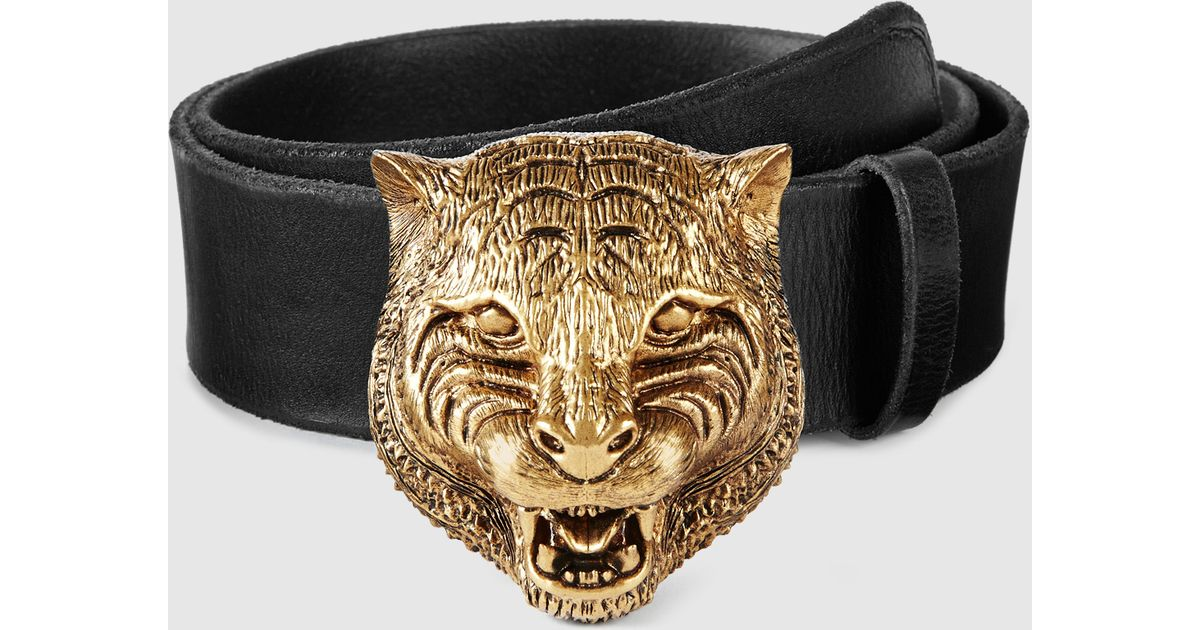 7ff01caceda Lyst - Gucci Leather Belt With Feline Buckle in Metallic