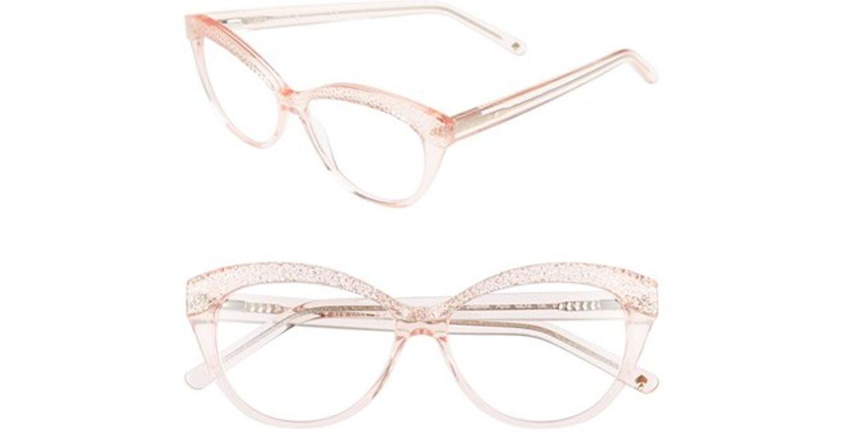 f9ffbd883ae Kate Spade New York  zabrina  52mm Reading Glassesa - Transparent Pink  Glitter - Lyst