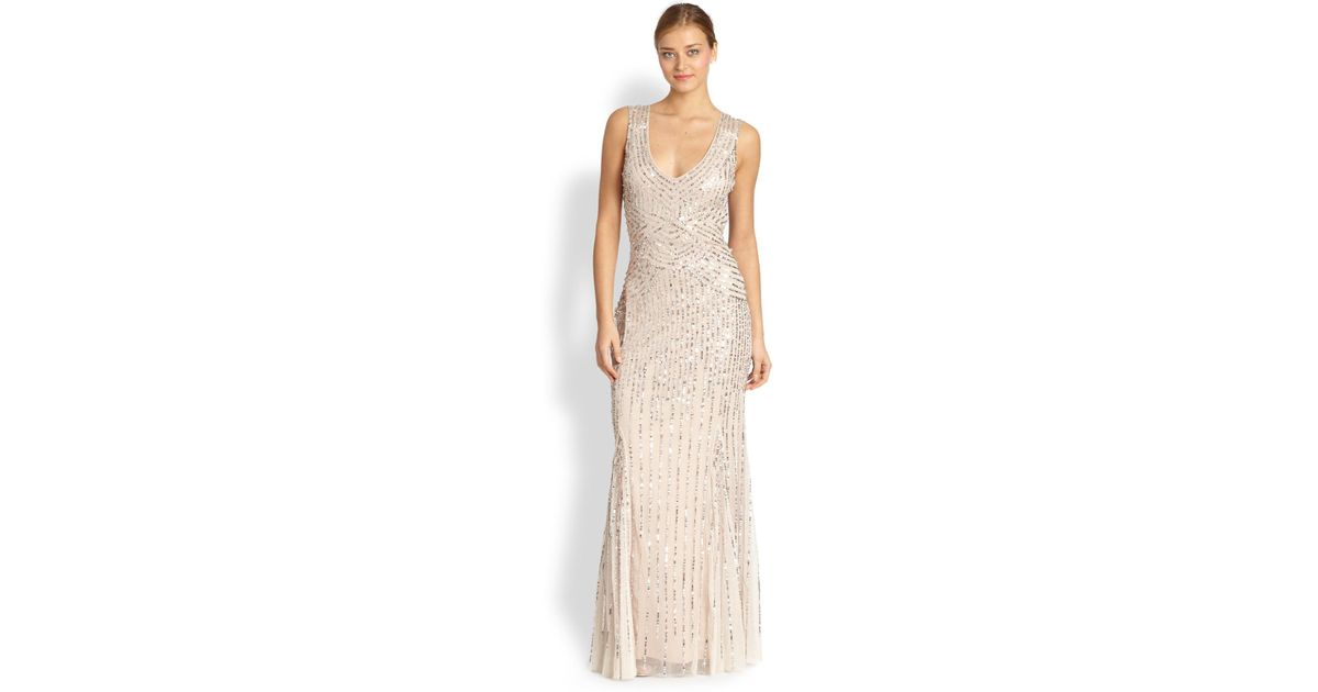 Lyst - Aidan Mattox Sequin Tulle Sleeveless Gown in Pink