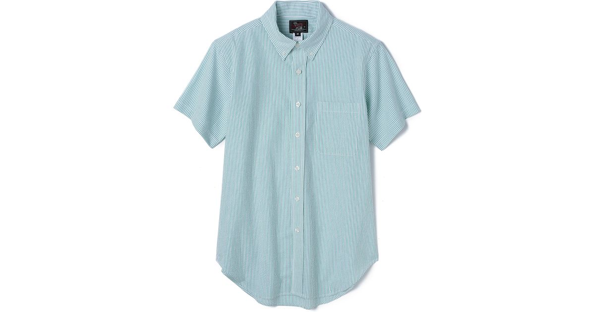 Woolrich seersucker short sleeve shirt in green for men for Mens short sleeve seersucker shirts