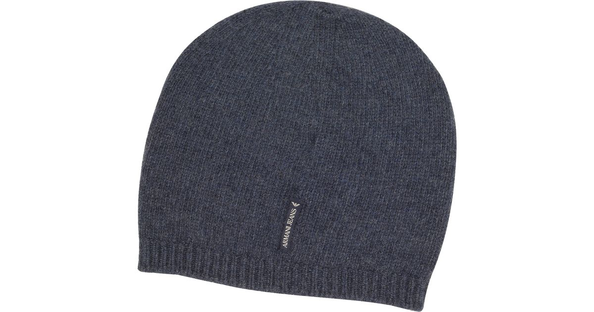 Armani Jeans Solid Pure Cashmere Men s Beanie Hat in Blue for Men - Lyst 099a7f45e90