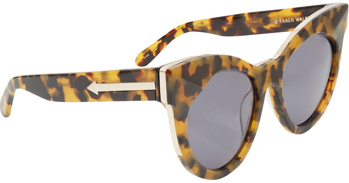 f5987987d8f Lyst - Karen Walker Brown Starburst Crazy Tort Cat Eye Sunglasses in Brown
