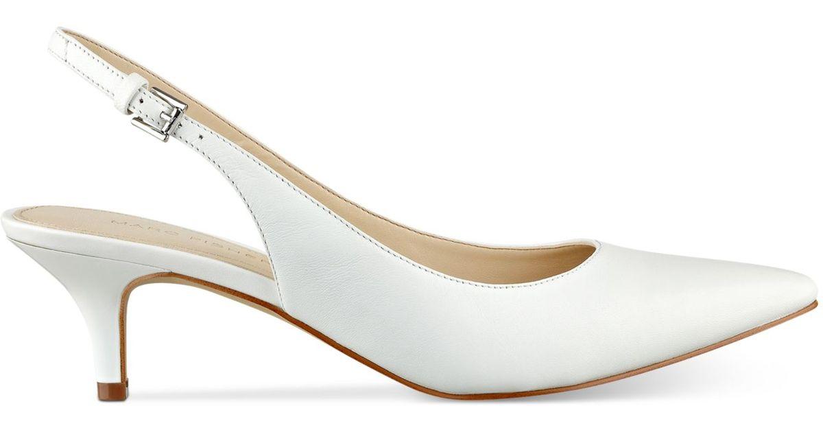 marc fisher tiffani kitten heel slingback pumps in white