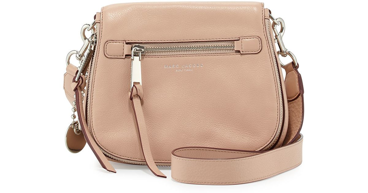 b1d334c0294 Lyst - Marc Jacobs Recruit Small Leather Saddle Bag in Natural