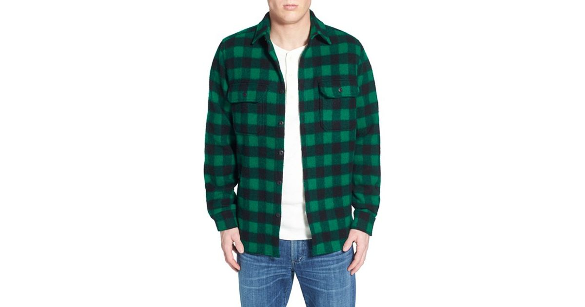 Lyst - Woolrich Buffalo Plaid Wool Blend Flannel Shirt in Green for Men 1f74faa2e2f