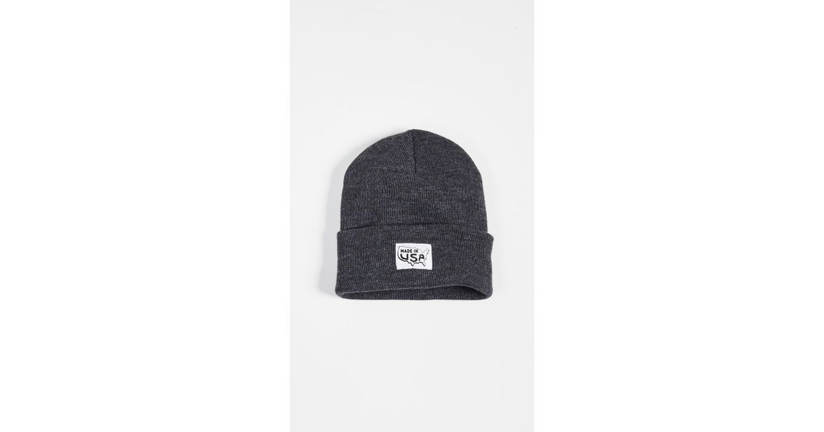 c19d5d66e0c Lyst - Save Khaki Printed Made In Cuff Beanie Hat in Gray for Men