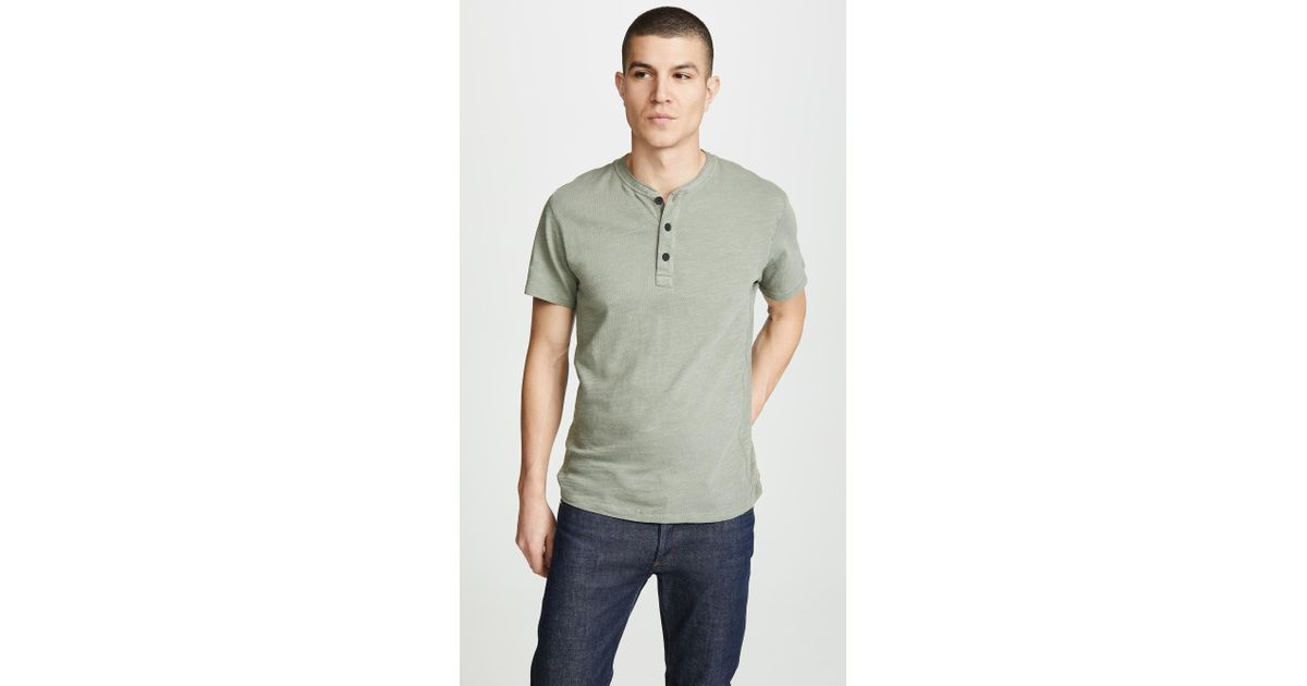 b593a87f1d3 Rag & Bone - Green Classic Short Sleeve Henley for Men - Lyst