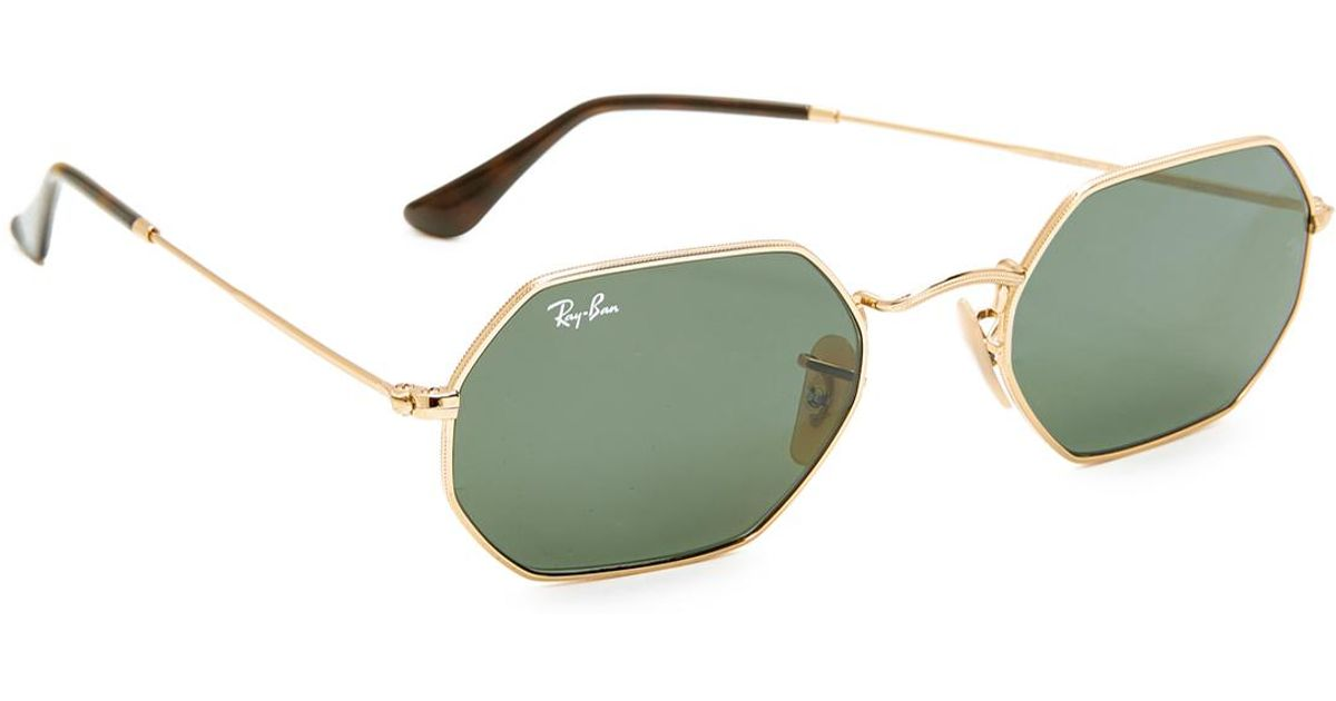 b96cfd4344 Lyst - Ray-Ban Octagon Flat Lens Sunglasses in Green for Men