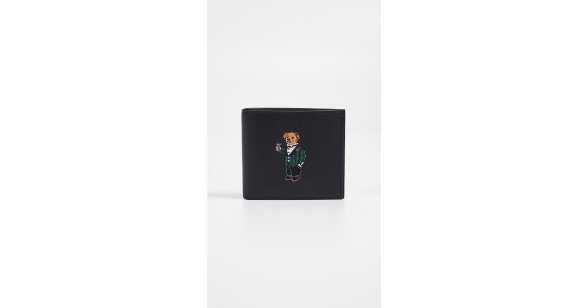 Lyst - Polo Ralph Lauren Tartan Bear Billfold in Black for Men 2a164a7a3c09e