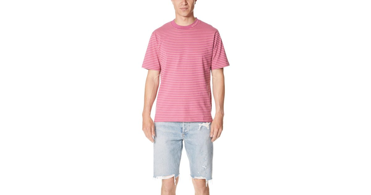 d9f7f3a610 Stussy Jack Striped Tee in Pink for Men - Lyst