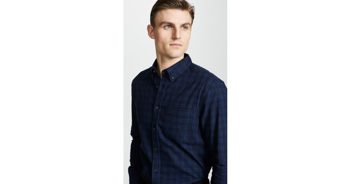 8233f46a1c Club Monaco Jaspé Check Flannel Shirt in Blue for Men - Lyst