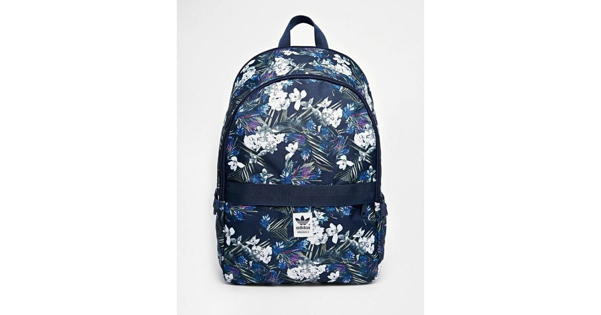 a26603c117f6 Lyst - adidas Originals Backpack In Floral Print in Blue