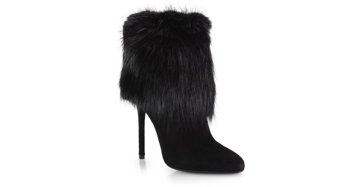 Prada Suede Fur Ankle Boots in Black | Lyst
