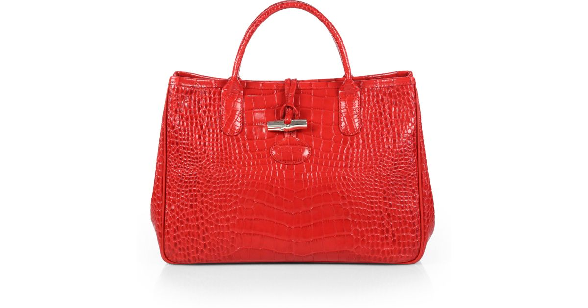 Lyst - Longchamp Roseau Crocodile Embossed Leather Top Handle Bag in Red 9b436b4837bff