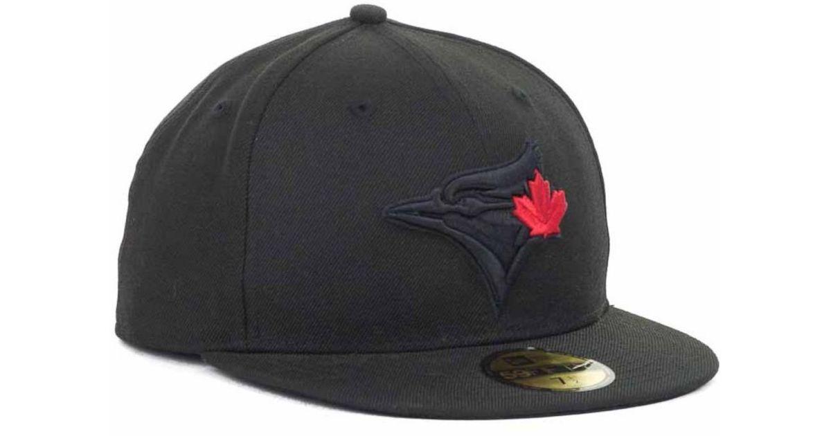 ... amazon lyst ktz toronto blue jays mlb black on black fashion 59fifty cap  in black for 0ba3446e242