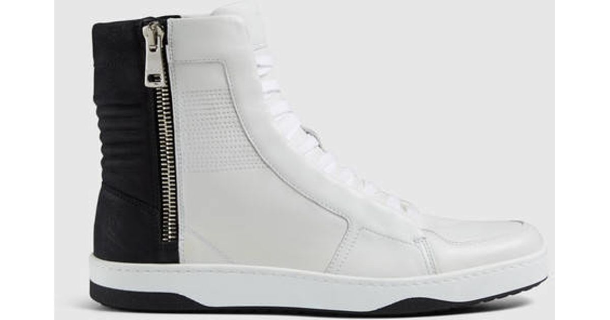 gucci leather high top sneaker with zippers in white for men lyst. Black Bedroom Furniture Sets. Home Design Ideas
