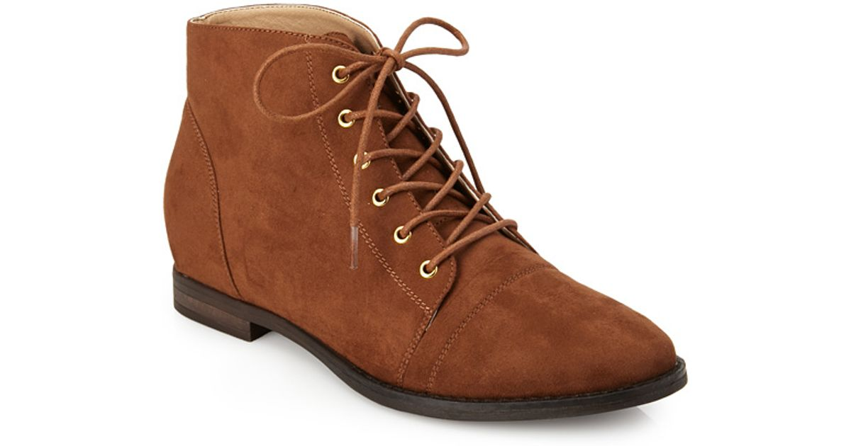 30ed7792598 Lyst - Forever 21 Faux Suede Lace-up Booties in Brown
