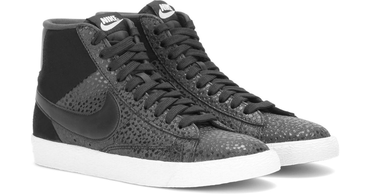 huge selection of f78e1 1f9e9 Nike Blazer Mid Premium Suede And Embossed Leather High-top Sneakers in  Gray - Lyst