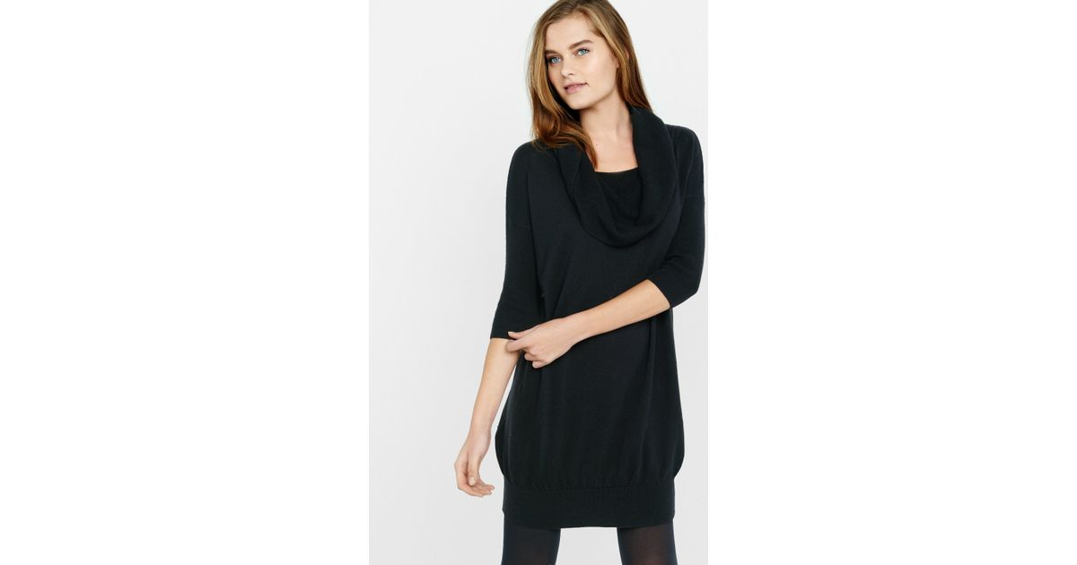 Express Banded Bottom Cowl Neck Sweater Dress in Black | Lyst
