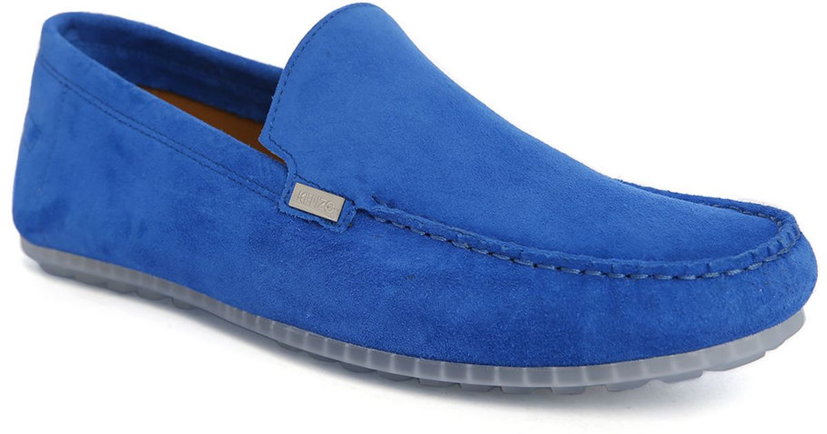 Kenzo Angelo Royal Blue Suede Slip-ons in Blue for Men
