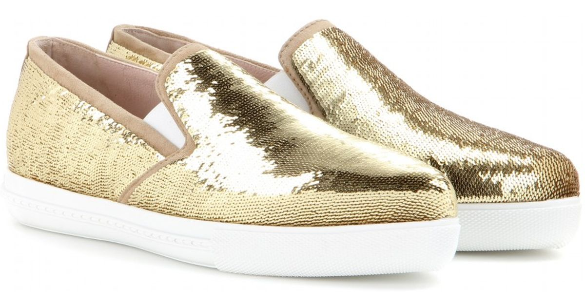 721557e384ad Lyst - Miu Miu Sequin Slip-on Sneakers in Metallic