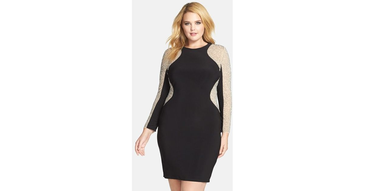d356f75c Xscape Beaded Illusion Sleeve Jersey Body-con Dress in Black - Lyst