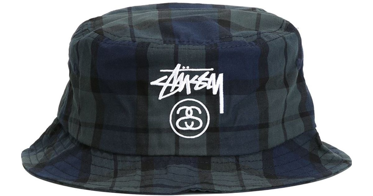 ee1b65fd7 ... discount code for lyst stussy plaid bucket hat in blue for men 71961  c1cd8