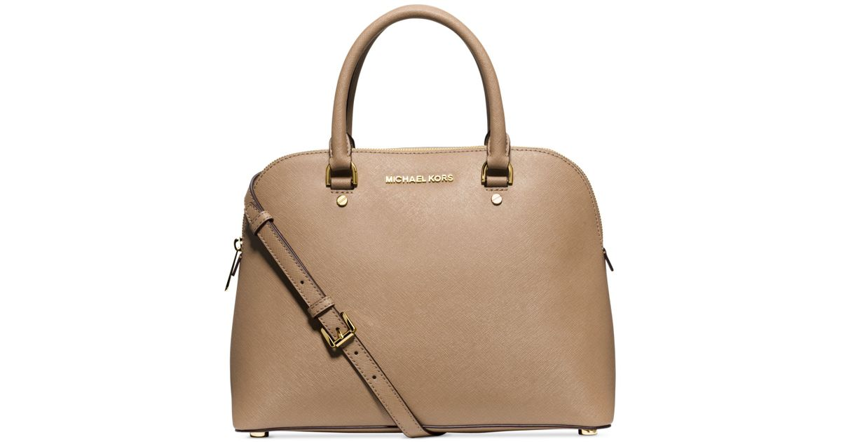 6658b0c8c46c4 Lyst - Michael Kors Michael Cindy Large Dome Satchel in Brown