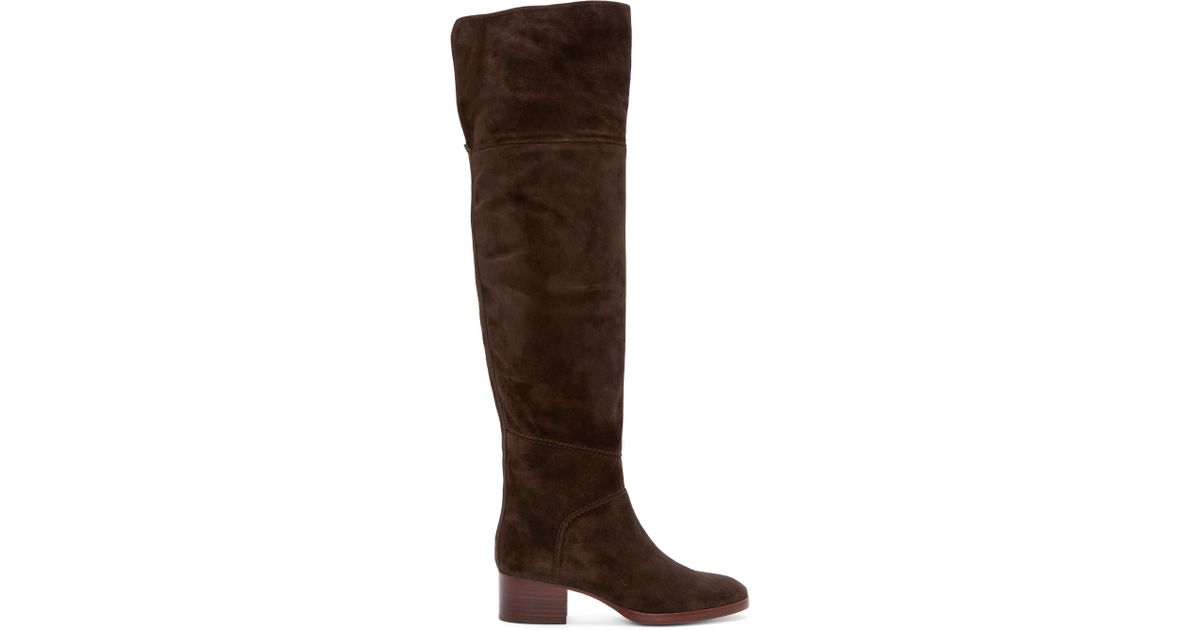 chlo 233 brown suede the knee boots in brown lyst