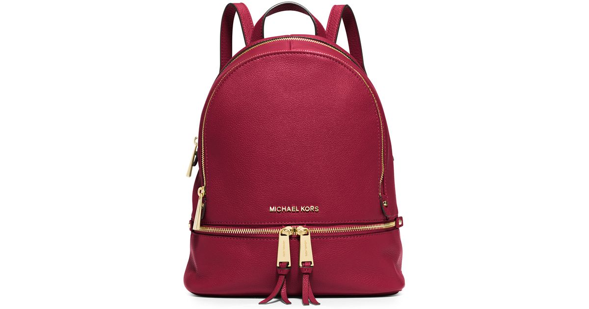 ae07917a2300 MICHAEL Michael Kors Rhea Small Leather Zip Backpack in Red - Lyst